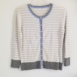 Margaret O'Leary gray stripe cotton cardigan Med